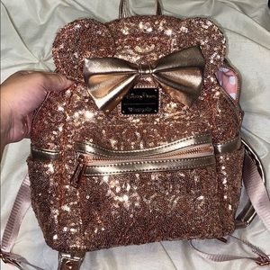 Disney rose gold Minnie book bag